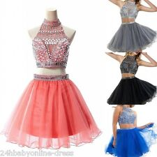 2016 Short Two Pieces Beaded Homecoming Dresses Evening Party Cocktail Prom Gown