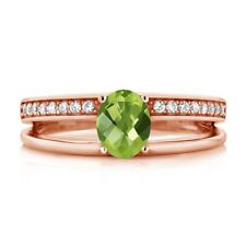 1.01 Ct Oval Checkerboard Green Peridot 18K Rose Gold Plated Silver Ring