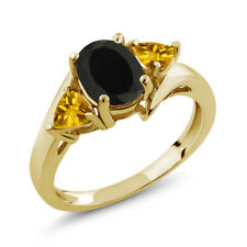 1.65 Ct Oval Black Onyx Yellow Citrine 18K Yellow Gold Plated Silver Ring
