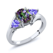 1.72 Ct Oval Green Mystic Topaz Blue Tanzanite 18K White Gold Ring