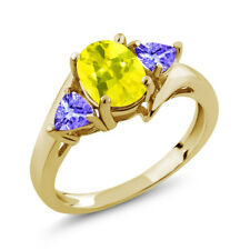 1.72 Ct Oval Canary Mystic Topaz Blue Tanzanite 18K Yellow Gold Ring