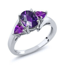 1.42 Ct Oval Checkerboard Purple Amethyst 925 Sterling Silver Ring