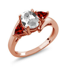 1.98 Ct Oval White Topaz Red Garnet 18K Rose Gold Plated Silver Ring