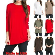 USA Womens Casual Solid Mock Neck Dolman 3/4 Sleeve Top Long Tunic Shirt S~XL