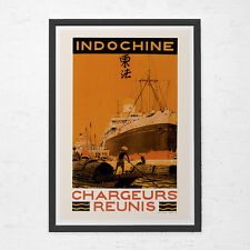 CHINA TRAVEL POSTER - Art Deco Travel Poster - Vintage Nautical Poster, Cruise S