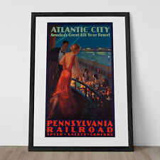 ATLANTIC CITY Travel Poster Art Deco Travel Poster 1930's Travel Poster Train Tr