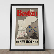 Art Deco Poster Travel Print BOSTON RAILWAY TRAVEL Poster Art Deco Print Retro A