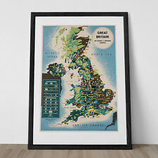 GREAT BRITAIN MAP Poster - England Travel Poster - England Map Print - England T