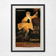 VINTAGE ART NOUVEAU Print - Belle Epoque Print - Antique Champagne Ad, High Qual
