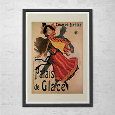 Vintage ICE SKATING Art Nouveau Poster PARIS Print High Quality Frame-Ready Ikea