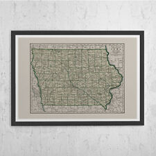 IOWA MAP PRINT - Vintage Map of Iowa - Old Map Print, Vintage Wall Art, Antique