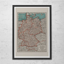 VINTAGE GERMANY MAP - Vintage Map of Germany Wall Art - Vintage Map Reproduction