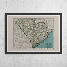 SOUTH CAROLINA MAP - Vintage Map of South Carolina - South Carolina Map, South C