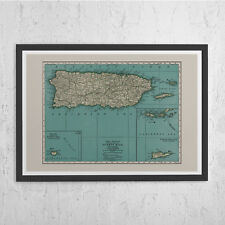 PUERTO RICO MAP - Vintage Map of Puerto Rico - Vintage Map Wall Art, Historical