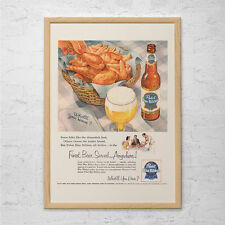 VINTAGE PABST BEER Ad - Retro Beer Ad - Kitsch Retro Ad, Vintage B.B.Q. Poster,