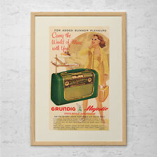 VINTAGE GRUNDIG RADIO Ad - Retro Tube Radio Advertisement Bakelite Radio Ad Retr
