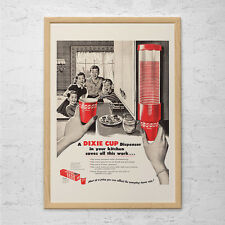 RETRO Dixie Cup Ad - Retro Mid-Century Party Ad - Vintage Kitsch Poster 1950's R