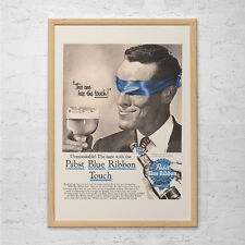 VINTAGE PBR BEER Ad - Classic Pabst Blue Ribbon Ad-  Mid-Century Advertisement H