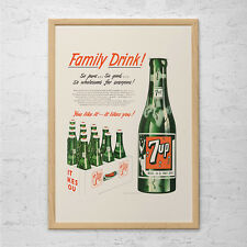 VINTAGE 7UP AD - Classic Soda Ad - Mid Century Design Wall Art 7up Poster Pop Ar