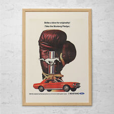 Vintage CAR Advertisement Mad Men Poster FORD MUSTANG Retro Print Poster Hot Whe