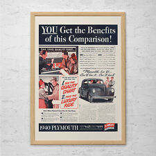 ANTIQUE CAR AD - 1940 Plymouth - Classic Car Ad Mid-Century Poster Garage Mechan