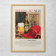 RED CAP ALE Ad - Retro Mid-Century Ad Beer Poster - Vintage Bar Poster 1950's Re