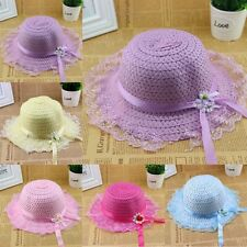 Cute Baby Girl Straw Sun Cap Child Kids Lace Flower Brim Summer Beach Visor Hats