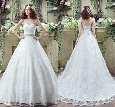 2016 White Ivory Strapless Lace Sash Sweep Train Wedding Dress Bridal Ball Gown