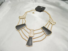 GUESS White Crystal Black Leather Multi Strand Statement Necklace NWT