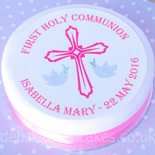 First Holy Communion Cake Topper - Girls Pink Personalised - Wafer or Icing