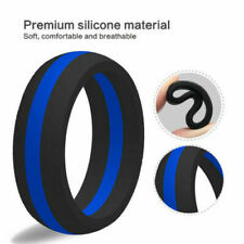 SAR - SAFE ACTIVE RINGS 8mm Blue Stripe Police Force Silicon Wedding Band Ring