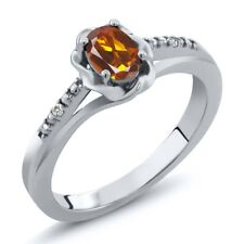 0.42 Ct Oval Orange Red Madeira Citrine White Sapphire 925 Sterling Silver Ring