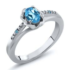 0.51 Ct Swiss Blue Topaz and Swiss Blue Simulated Topaz 925 Sterling Silver Ring