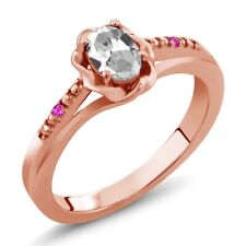 0.52 Ct Oval White Topaz Pink Sapphire 18K Rose Gold Plated Silver Ring