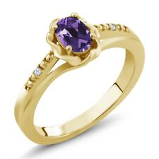 0.37 Ct Oval Purple Amethyst White Topaz 18K Yellow Gold Plated Silver Ring