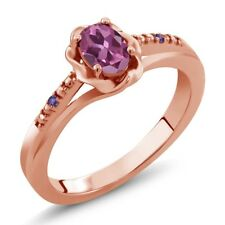 0.51 Ct Oval Pink Tourmaline Purple Amethyst 18K Rose Gold Plated Silver Ring
