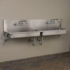 """72"""" Double Bowl Stainless Steel Wall Mount Commercial Sink"""