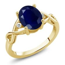 2.54 Ct Oval Blue Sapphire White Sapphire 18K Yellow Gold Plated Silver Ring