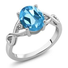 1.86 Ct Oval Swiss Blue Topaz White Diamond 925 Sterling Silver Ring