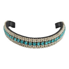 NEW BLING BROWBAND - PEARLS & AQUA/CLEAR CRYSTALS - PONY COB FULL WB - FREE P&P!