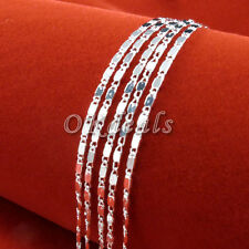 Wholesale 1pc 925 Silver Plated 2mm Charm Curb Flat Chain Necklace 16-30 inch