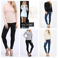 WOMENS LADIES PLAIN BASIC CASUAL STRETCH JERSEY HIGH TURTLE NECK LONG SLEEVE TOP