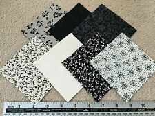 "New Patchwork / Quilting Fabric 10 x 4"" Squares Black & Cream Floral Charm Pack"