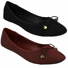 LADIES F80012 ROUND TOE BOW DETAIL SLIP ON CASUAL FLAT BALLERINA SHOES SPOT ON