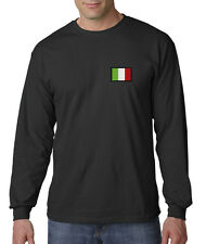 Italy Flag Symbol Italian Pride Embroidered Long Sleeve T-Shirt S-3XL
