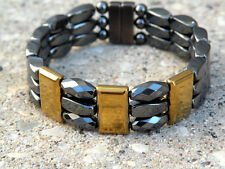 Men's SPORTSMAN SERIES 100% Magnetic Hematite GOLD TRIPLE Bracelet
