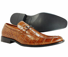 Men's Dress Shoes Antonio Cerrelli Italian Slip On Moc Crocodile Cognac Loafers