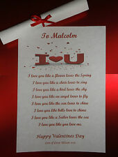 I Love You Gift For Her For Him Valentines Day Poem Boyfriend Girlfriend Etc