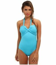 Seafolly Goddess Bandeau Maillot One Piece Swimsuit Capri Blue RRP $179.95