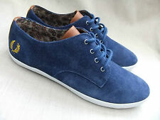 NEW FRED PERRY B2188 FOXX MENS PACIFIC BLUE SUEDE TRAINERS